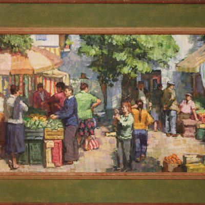 Mañana de verano en el mercado de Plaza Larga | Óleo sobre lienzo | 60x30