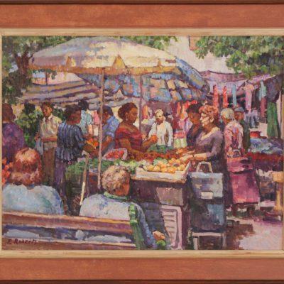 Mirando el mercado | Óleo sobre lienzo | 57x43