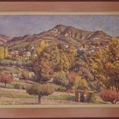 Vista de Beas con campesino | Óleo sobre lienzo | 57x42