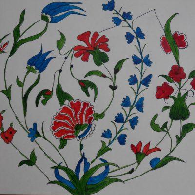 Detalle de cerámica Iznik inspirada en la colección Gulbenkian | 21x26
