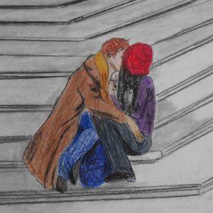 El beso en la escalinata de Roma. 20x19 cm.