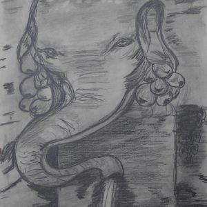 Fontana dell'Elefante. Villa Madama. 29x21 cm.