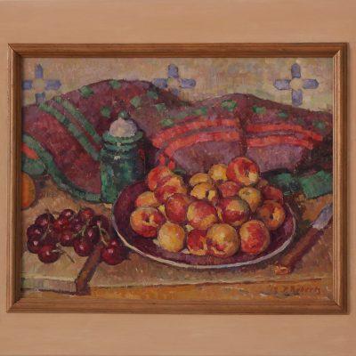 Bodegón con cerezas y albaricoques | Óleo sobre tabla | 37x30