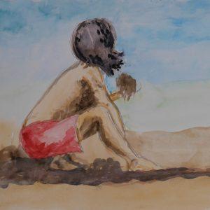 Niño jugando en la arena. 15x19 cm.