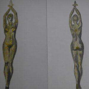 Recreación de la mujer pulpo de Chiparus 1 y 2. 29x42 cm.