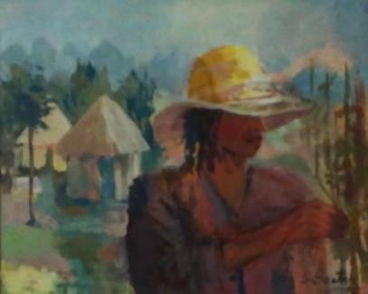 Paisaje con mujer en África. Sara Beatay. 600 euros. 48x58 cm