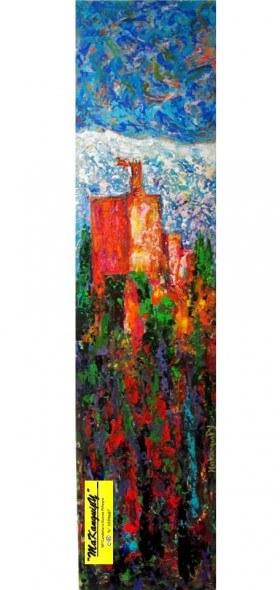 10. Alhambra sobre la tierra roja. Makanguipy. Acrílicos sobre tabla DM. 120x29 cm. 900 euros
