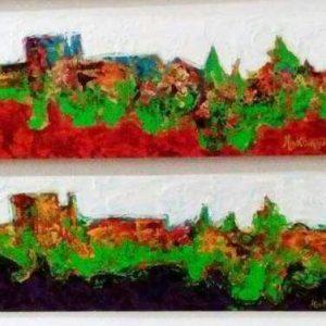 14. Estelas de la Alhambra (III y IV). Makanguipy. Acrílicos sobre tabla DM. 18,5x100 cm. 400 euros