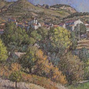19. Otoño - Beas de Granada. Paul Roberts. Pastel. 27x36 cm